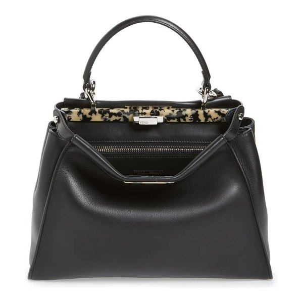 Fendi 'peekaboo' leather satchel with plexiglas trim in black/ palladium