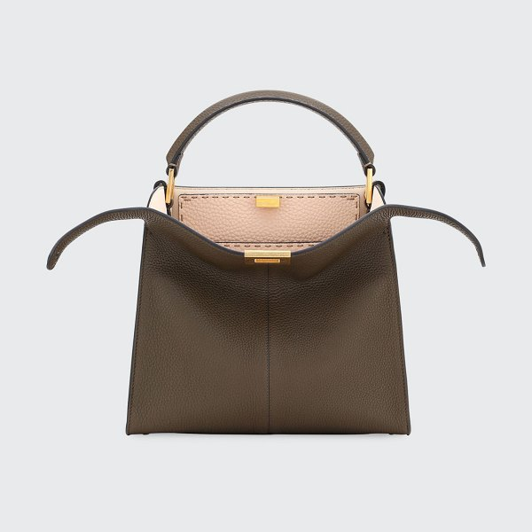 Fendi Peekaboo Xlite Leather Tote Bag in brown