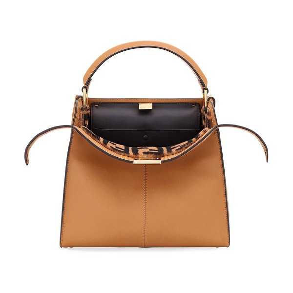 Fendi Peekaboo Xlite Regular Top Handle Bag in light brown