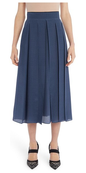 Fendi pleated microdot print silk crepe de chine midi skirt in saxophone