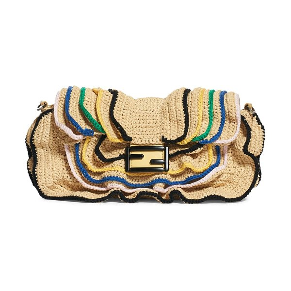 Fendi raffia wave baguette in brown - The iconic Fendi baguette channels a playful, beachy...