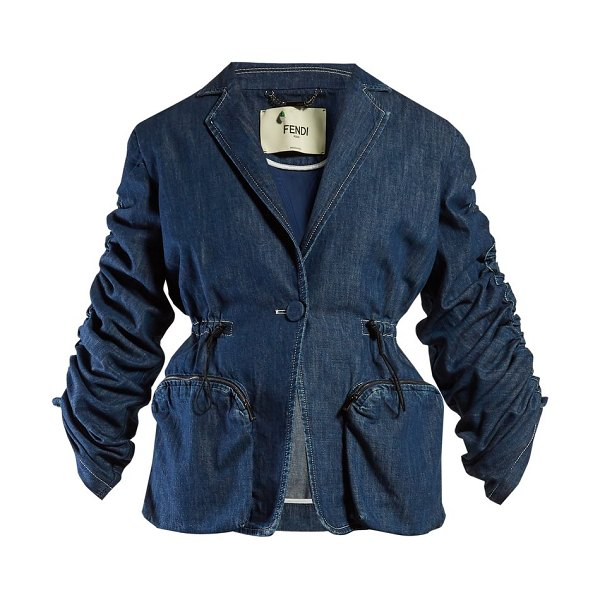 Fendi ruched single breasted denim blazer in denim - Fendi - There's a utilitarian riff to Fendi's SS19...