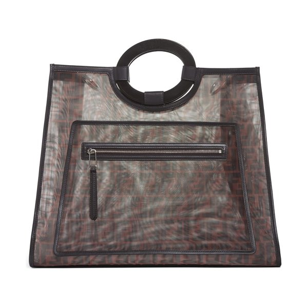 Fendi runaway printed logo mesh shopper in brown/ nero - A chic take on the season's see-through trend, this luxe...
