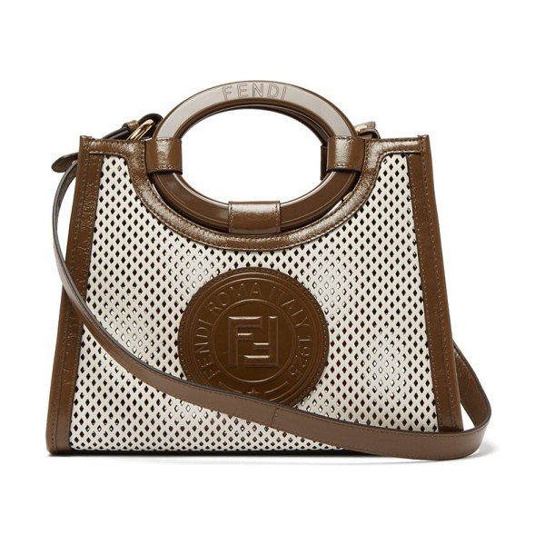 Fendi runaway small perforated-leather bag in white multi