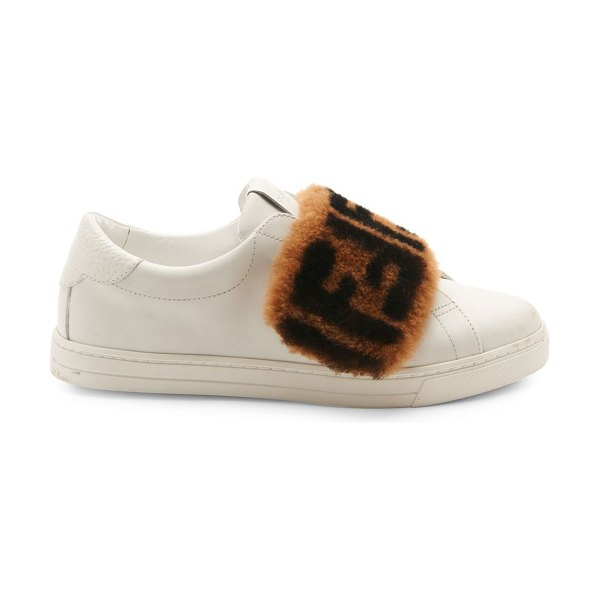 Fendi shearling ff logo leather sneakers in white