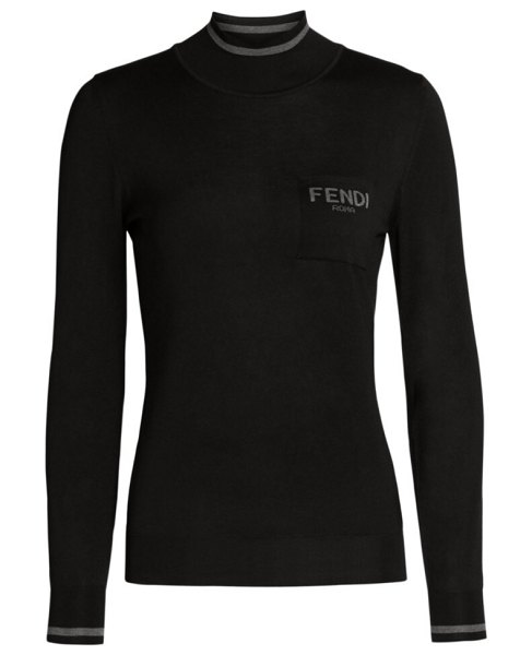Fendi silk mockneck top in black