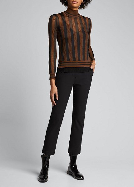 Fendi Silk Semisheer Striped Turtleneck Sweater in black/brown