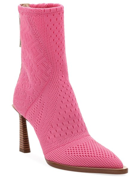 Fendi Stretch-Knit High Booties in pink