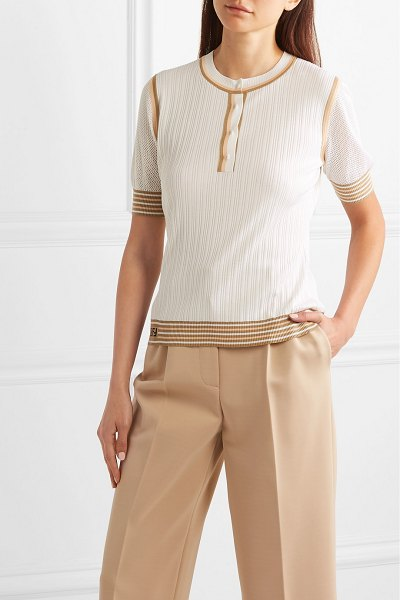 Fendi striped ribbed silk top in white