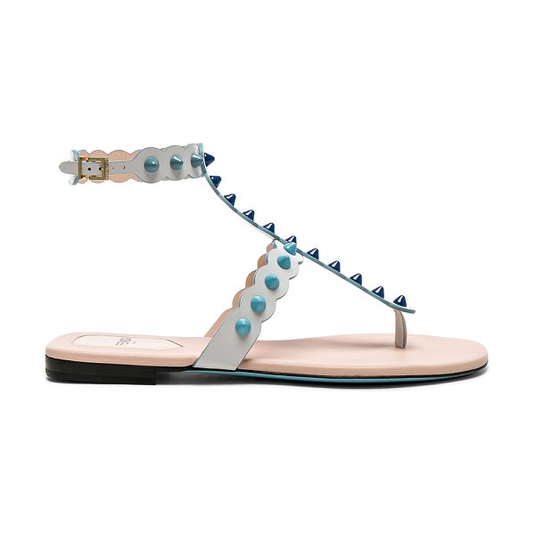 Fendi Studded Leather Gladiator Sandals in white - Leather upper and sole.  Made in Italy.  Ankle strap...