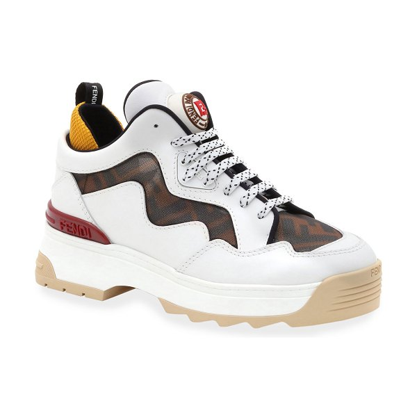 Fendi T-Rex FF Mesh and Leather Sneakers in white pattern