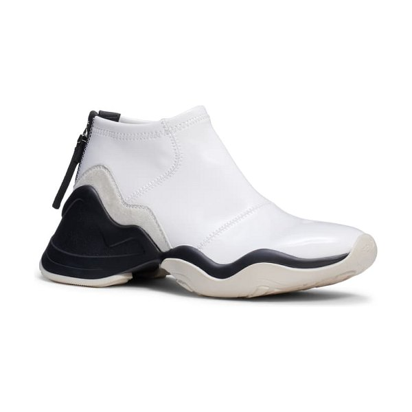 Fendi technice mid top sneaker in white patent/ black