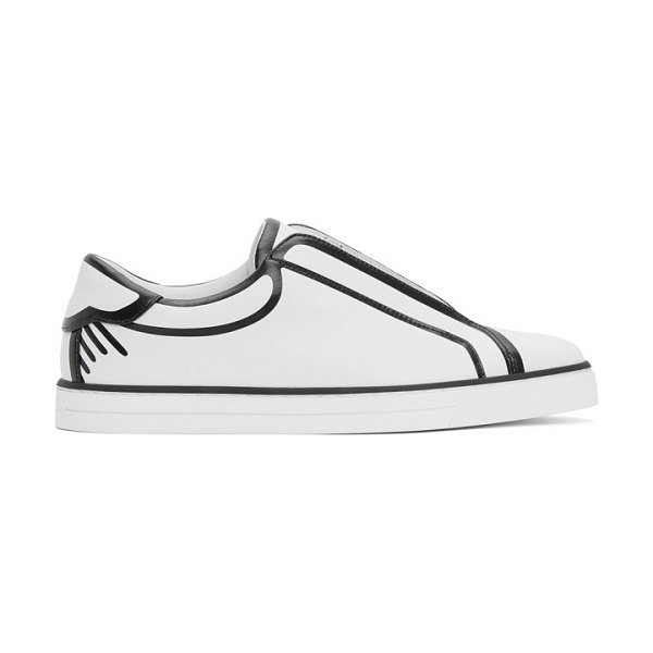 Fendi white and black joshua vides edition leather sneakers in f1boe white