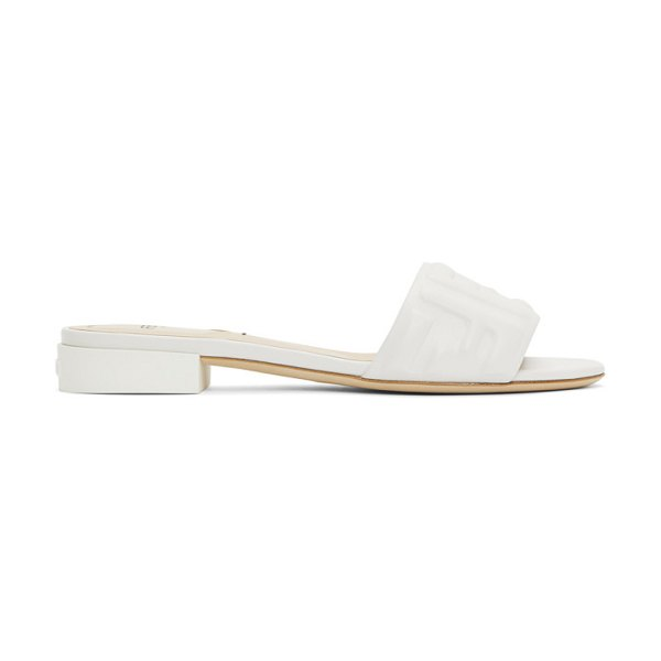 Fendi white leather forever  sandals in f1b2w white