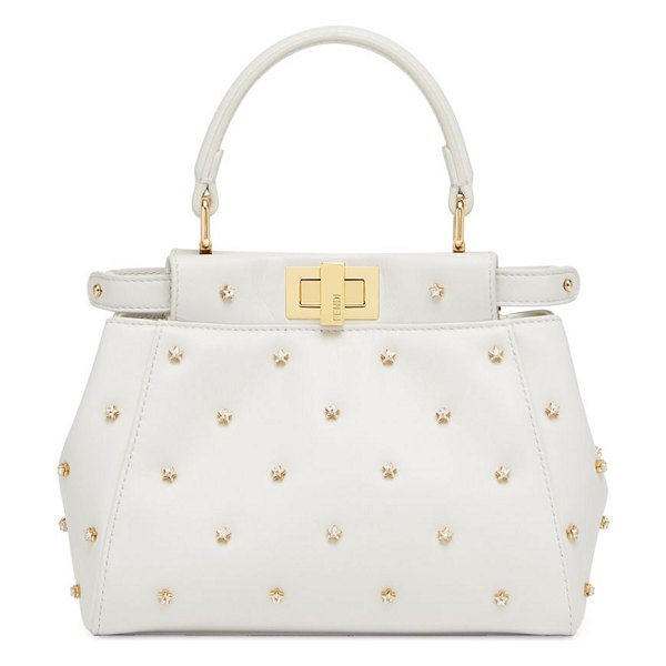 Fendi xs peekaboo crystal leather handbag in white