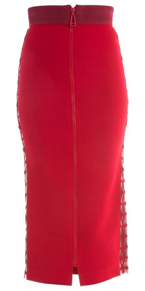 Fendi zip front stretch cady pencil skirt in red