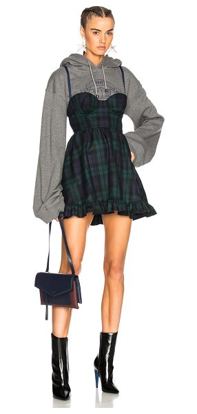 Fenty Puma by Rihanna Dress with Hoodie in gray,checkered   plaid,green, 83ee6dc70b81