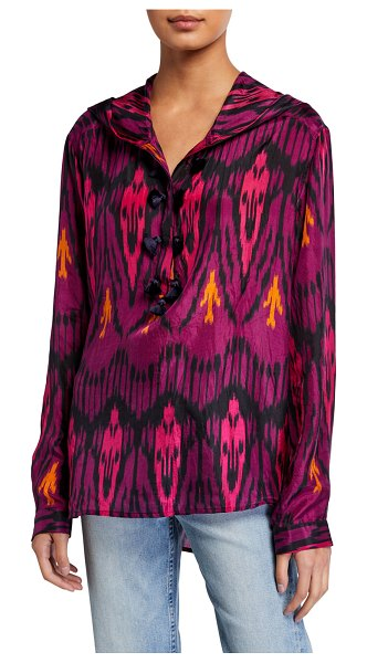 Figue Ciara Ikat-Print Silk Hooded Tunic in purple pattern