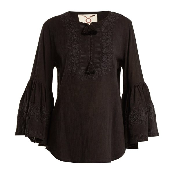 Figue liza embroidered cotton shirt in black