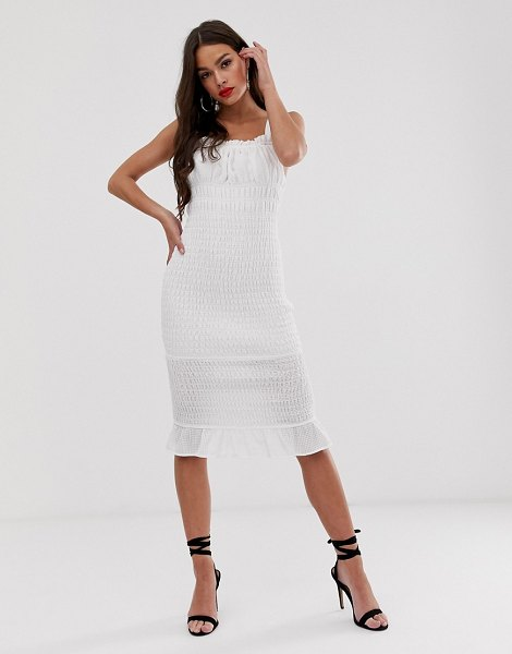 Finders Keepers dolly bodycon midi dress in ivory