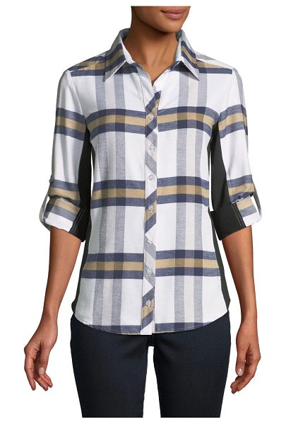 "Finley Casey Plaid Combo Shirt in multi pattern - Finley ""Casey"" shirt in brushed plaid with solid knit..."