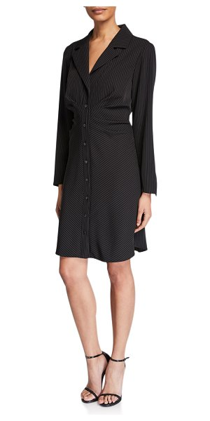 Finley Cleo Gathered Pinstripe Shirtdress in black/white