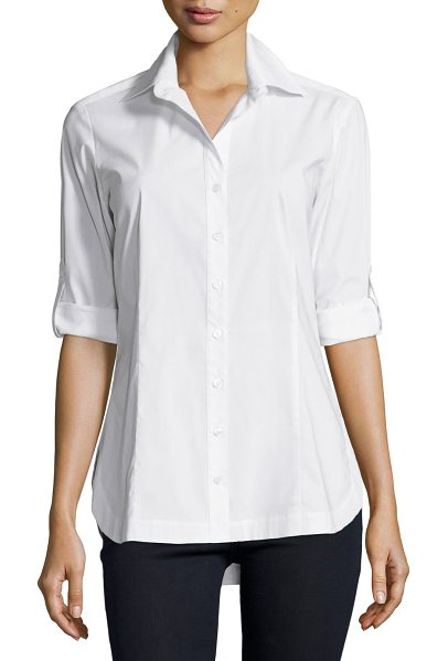 Finley Joey Tailored Long-Sleeve Blouse in white
