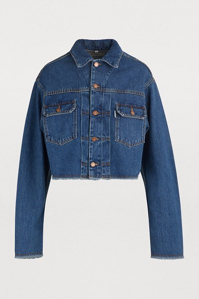 FIORUCCI Denim jacket with angels patch in salt and pepper - Fiorucci's denim jacket with angels patch embodies the...