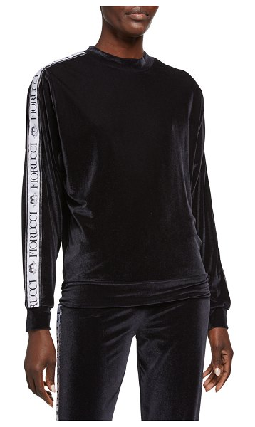 FIORUCCI Velour Logo Tape Top in black