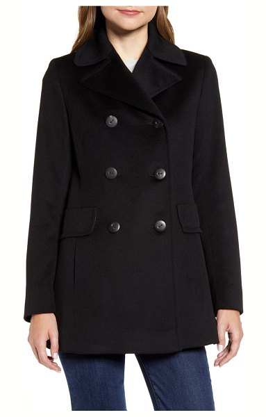 Fleurette double breasted wool peacoat in black