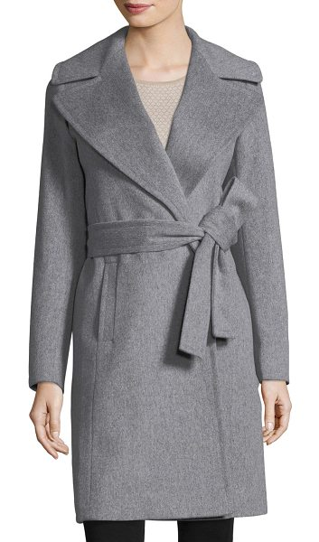 "Fleurette Notched-Collar Wool Wrap Coat in grey heather - Fleurette coat in Loro Piana wool. Approx. 38""L from..."