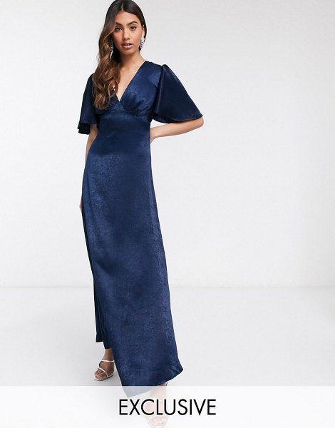 Flounce London exclusive plunge satin maxi tea dress with flutter sleeve in navy in navy