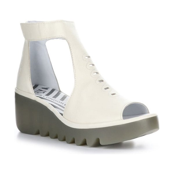Fly London bezo wedge sandal in off white bridle