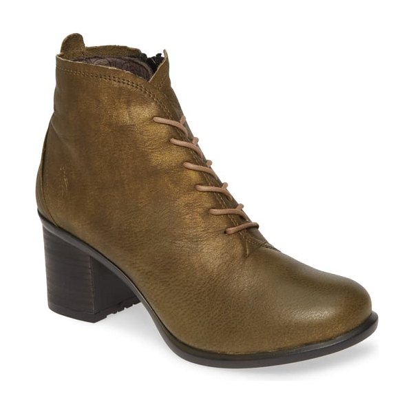 Fly London inet round toe bootie in olive leather