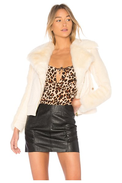 For Love & Lemons Andi Faux Fur Moto Jacket in cream - Self: 95% poly 5% spandexContrast: 100% polyLining: 97%...