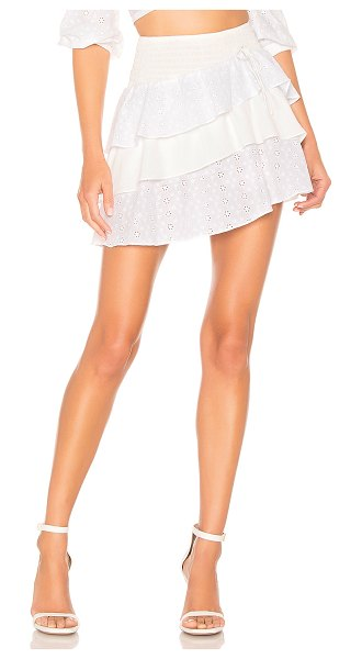 "For Love & Lemons Bora Bora Skirt in white - ""Self: 50% silk 50% viscoseLining: 97% poly 3% spandex...."