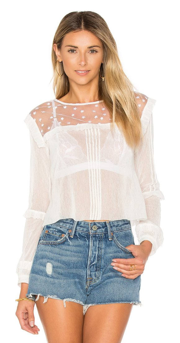 FOR LOVE & LEMONS Cosmos Pintuck Blouse - Rendered in a soft mesh fabric, The Cosmos Blouse features...