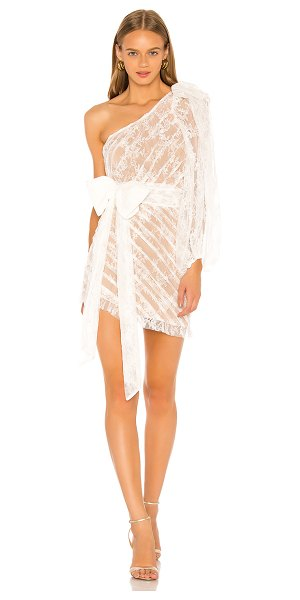 For Love & Lemons dynasty one shoulder dress in white lace