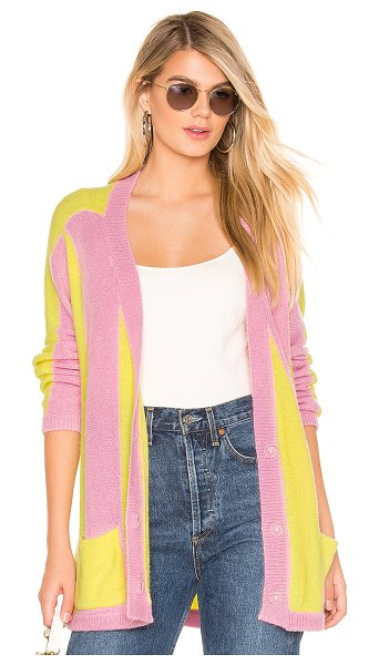 For Love & Lemons Lauryn Oversized Cardi in yellow - Poly blend. Dry clean only. Front button closure. Side...