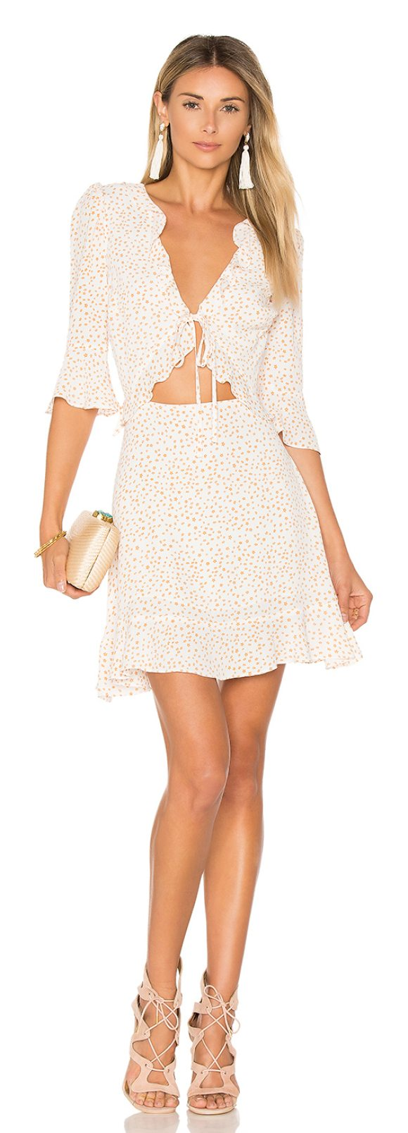 FOR LOVE & LEMONS Nostalgic Tie Front Dress - Summer nights and never growing up. In a youthful star...