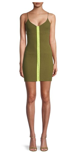 For Love & Lemons Ribbed Mini Dress in olive