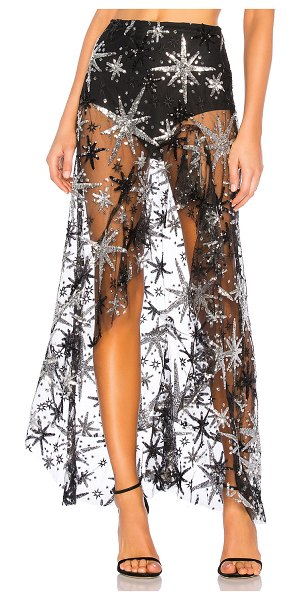 """For Love & Lemons Stardust Asymmetrical Skirt in black - """"Poly blend. Dry clean only. Attached brief lining with..."""