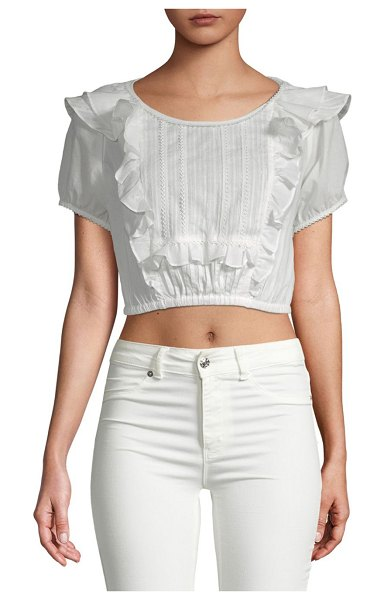 FOR LOVE & LEMONS Ziggy Pintuck Cotton Blouse in white - Cropped cotton blouse with pintuck and ruffle detail....