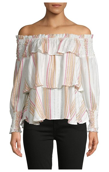FOR THE REPUBLIC Off-The-Shoulder Tiered Ruffle Top in lurex natural