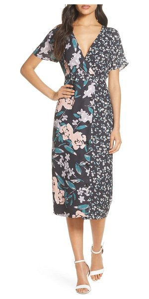 FOREST LILY mixed floral print button front wrap dress in black combo