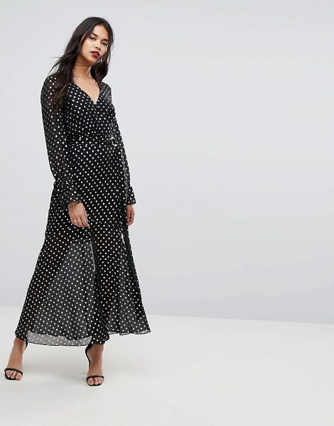 Forever New Maxi Dress With Metallic Spot In Black Shopstasy
