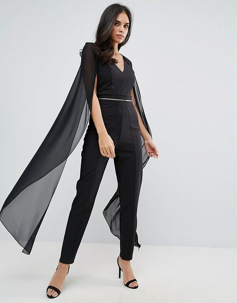 Forever Unique Jumpsuit With Chiffon Cape In Black Shopstasy