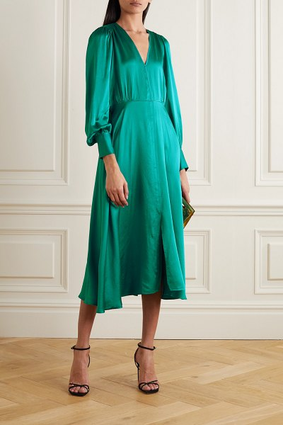 Forte Forte hammered silk-satin midi dress in teal