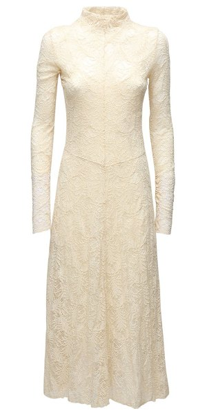 FORTE_FORTE Cotton blend lace long dress in ivory
