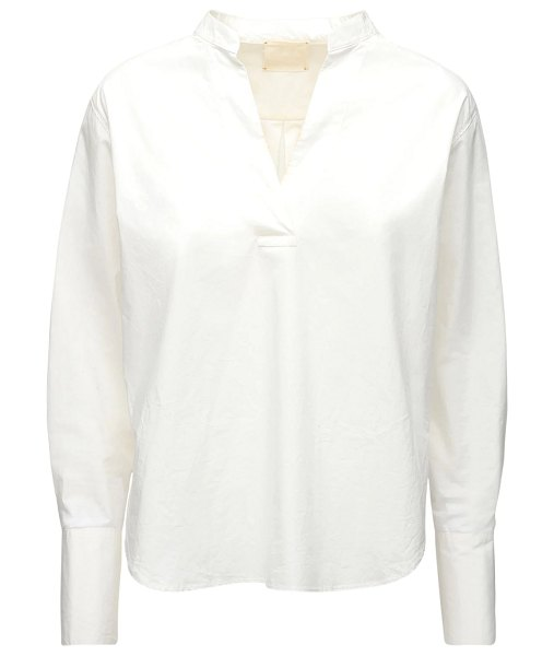 FORTE_FORTE V neck cotton poplin shirt in white